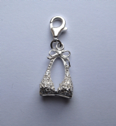 Sterling Silver clip on Cubic Zirconia bikini top Charm